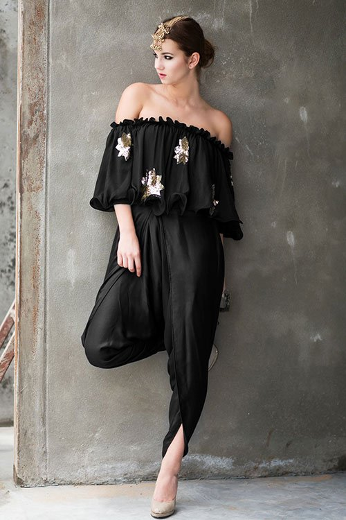 Black-Off-Shoulder-Top-And-Dhoti-Pants
