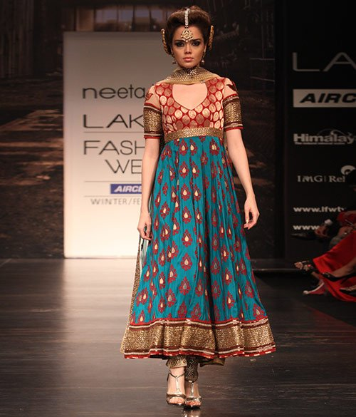 Teal-Anarkali-And-Deep-Red-Banarasi-Work