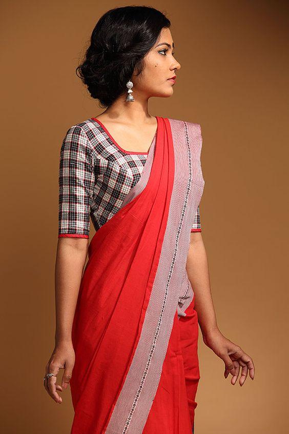 Checks Or Striped Cotton Blouse Design