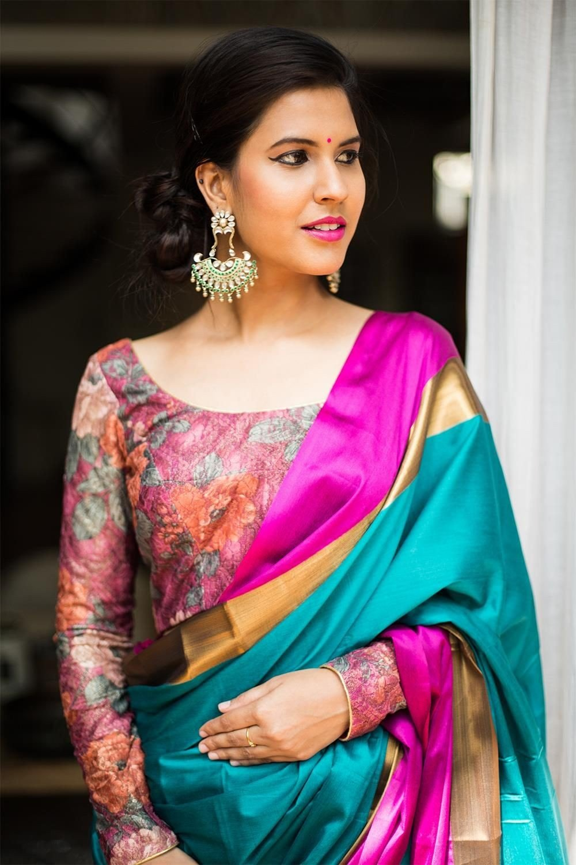 Printed Silk Saree Blouse Design