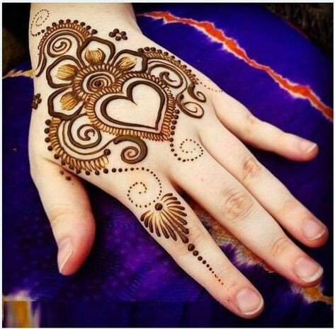 Heart Back-Hand Arabic Mehndi Design