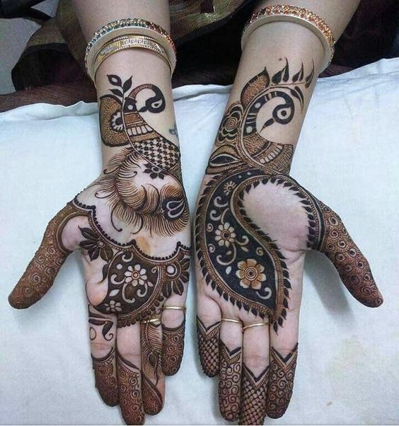 Palm Peacock Mehendi Design Arabic