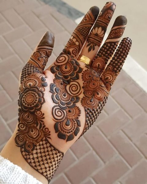 Shaded Floral Half Hand Arabic Mehandi Design